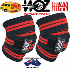 WOZ WEIGHT LIFTING KNEE WRAPS BODYBUILDING GYM KNEE POWERLIFTING SUPPORT STRAPS