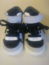 Carters Ankle Hi Shoes Toddler Size 6 black/ white/gray Lace Up & Velcro