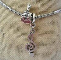 Guitar Music Instructor Teacher Pendant Bead F European Charm Bracelet/Necklace