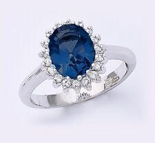 Dolly-Bijoux Bague Rhodié Marquise Saphir Cz 13mm & Diamant Cz Argent Massif 925