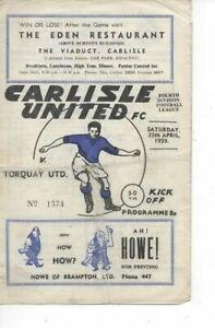Carlisle United v Torquay United 1958/59 Division 4