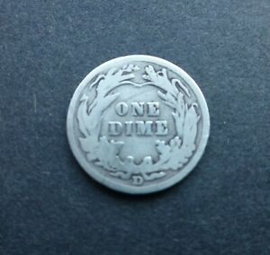 UNITED STATES 1908 D BARBER DIME - 10 CENTS, DENVER MINT, SILVER