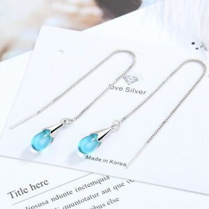 Women's 925 Sterling Silver Plated Blue Long Threader Tassel Drop Earrings