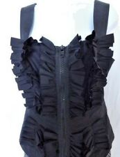 Auth NEW with Tags GIVENCHY Paris Black RUFFLED Blouse TOP Vest Blazer