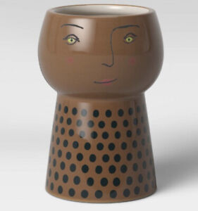 """Opalhouse 6""""  Brown Stoneware Family Face Planter NEW"""
