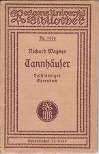 Richard Wagner Tannhäuser Reclams Universal Bibliothek Nr. 5636 Leipzig