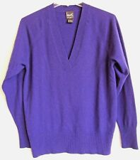 HENRI BENDEL Women's Purple Cashmere Sweater L/S Deep-V Crossover Neckline S