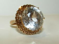 More details for brilliant, antique victorian 10 ct gold hearts ring with large rock crystal gem