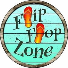 "Flip Flop Zone 12"" Round Metal Sign Pool Tropical Beach Novelty Home Wall Decor"