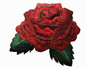 """#5061 2 5/8"""" Red Rose Flower Embroidery Iron On Applique Patch"""