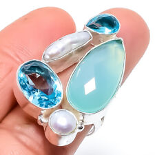 Aqua Chalcedony, Blue Topaz Gemstone Silver Jewelry Ring Size Adjustable RRJ1521