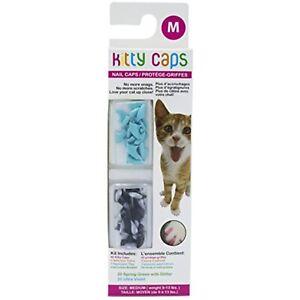 Kitty Caps Kitty Caps Nail Caps for Cats, Medium, Black w/ Gray Tips & Baby Blue