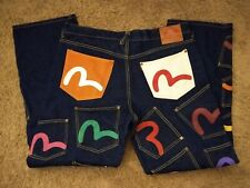 RARE Mens EVISU Artistic Pocket Logo All Over Jeans 40 x 33 Hard to Find