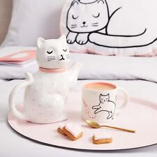 Cosy Cat Pink Polka Dot Hearts Porcelain Teapot Home Decor Gift Sass & Belle New