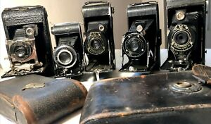 Vintage Folding Cameras - Kodak, Ansco & Agfa. Lot of 5 - two with leather case!