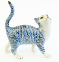 Miniature Ceramic Cat figurine, Blue Tabby with White Approx 6.5cm High