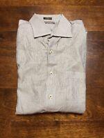 Peter Millar Button Front Shirt Black White Stripe Men's Size Large L
