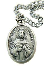 St Thomas Aquinas Patron Saint Medal with Stainless Steel Chain from Italy