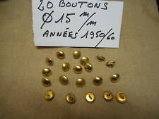 20 BOUTONS MILITAIRES METALLIQUES DORES Diamètre 15 mm FRENCH MILITARY BUTTONS