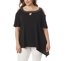 CATHERINES WOMEN'S BLACK COLD SHOULDER EMBELLISHED NECK TOP PLUS Sz 5X 34/36W