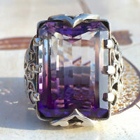 Retro Turkish Handmade Amethyst Crystal 925 Silver Men's Ring Jewelry NEW # 6-10