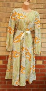 ASOS BEIGE YELLOW GREEN FLORAL PUFF LONG SLEEVE A LINE MIDI BELTED VTG DRESS 16