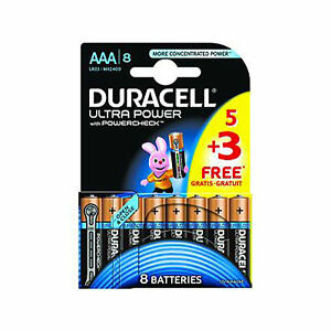 24 x  Duracell AAA Ultra Power M3 LR3 MX2400 Battery 1.5V Alkaline 5+3 Free
