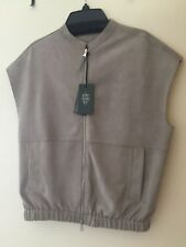 NWT Eleventy Grey SUEDE Women's Zipper Vest Size 40 Italy Medium Retail $1495