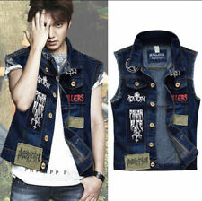 Men Patch Denim Vest Jean Jacket Waistcoat Sleeveless Vintage Punk Casual Jacket