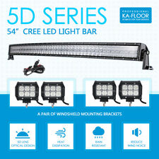 "5D 54Inch 1040W CREE Curved LED Light Bar +4x 4"" 18W Fog Lamp Offroad for Jeep"