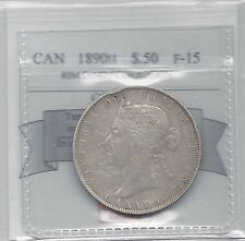 **1890H**, Coin Mart Graded Canadian Silver 50 Cent, **F-15 Corrosion Rimding**