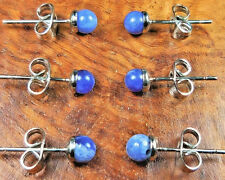 Blue Sodalite Earrings 4mm Ball Studs H18 Healing Crystals And Stones