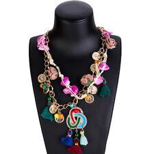 Fashion Women Bib Tassel Pendant Jewelry Chain Chunky Statement Choker Necklace