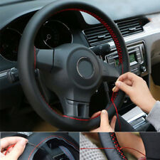 Black+Red Genuine Leather DIY Car Steering Wheel Cover With Needles and Thread F