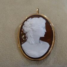 14K Carved Cameo Pendant Brooch Pin Lady Profile