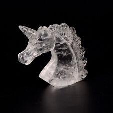Natural Clear Quartz Crystal Unicorn Specimen Hand Carved Horse Head Figurine