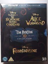 Tim Burton 3 Movie 3D Bluray Collection-Nightmare/Alice/Frankenween-6 Discs-NEW