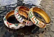 VINTAGE Hinged Bangles Set of 3 Goldtone Enamel White Exc Cond QUALITY