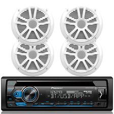 "4 White Dual Conr 6.5"" Car Speaker Set,In Dash Pioneer Bluetooth CD USB Receiver"