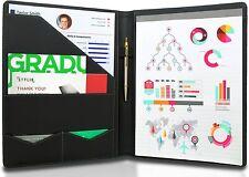 Padfolio Resume Portfolio Folder Legal Document Organizer Faux Leather Black