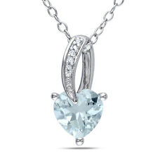 """Sterling Silver Aquamarine and Diamond Accent Heart Pendant Necklace 18"""""""