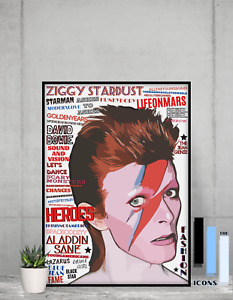 David Bowie Ziggy Stardust Pop Art Typography Songs Portrait Collectable/Gift