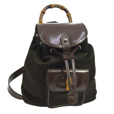91ee26b070fd Authentic GUCCI Bamboo Backpack Bag Brown Nylon Patent Leather Vintage  AK25503d