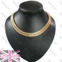 """BIG 18K GOLD TONE FASHION CHAIN 15mm wide SLINKY 18""""NECKLACE articulated SNAKE"""