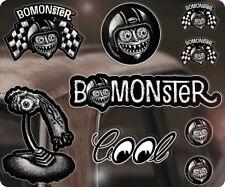 9x pezzi bomonster sticker adesivo autocollante HOT ROD RAT Fink Moon s2