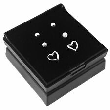 Solid 925 Sterling Silver Set of 3 Stud Earrings (Heart, Frosted & Ball Studs)