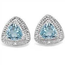 Ohrringe/Ohrstecker Sansibar, 925er Silber, 0,82 Kt. echter Blautopas/Diamant
