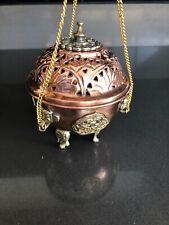 Hanging Censer Incense /  Resin Holder Copper and Brass.