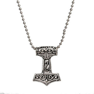 Small Viking Thor's Hammer Mjolnir Necklace Pendant Chain Norse Double Sided