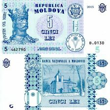 MOLDOVA 5 Leu Banknote World Paper Money Currency Pick p-New 2015 King Stephan